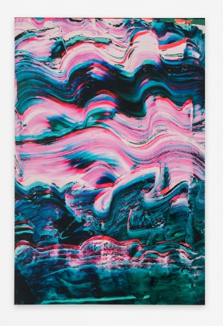 An abstract composition of pink, dark blue, dark green, and black squiggles.