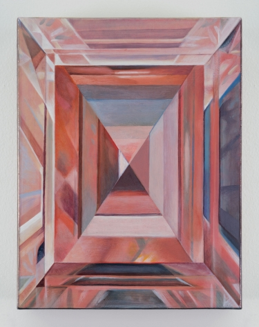 A painting of an abstracted diamond cross section, with multiple rounds of refraction. The entire canvas is made of pink tones with a few blue accents.