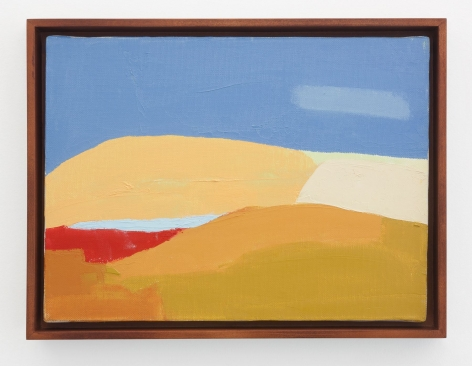 An abstract landscape in blue, orange, red, and yellow tones