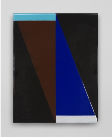 An enamel work with triangles in black, blue, brown.