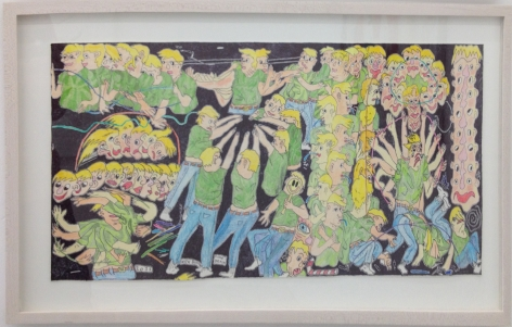 A drawing of a performance by Nick Buffon, with many figures denoting action and movement
