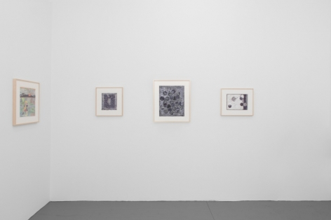 A photograph of a wall of the gallery in the back office, which shows 3 black and white drawings on a wall, and one color drawing at left in profile on the opposite wall. All are framed in natural wood.