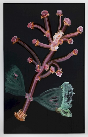 A vertical painting on black ground of a pink sprig that resembles a pistil with green, fan-like leaves near the bottom