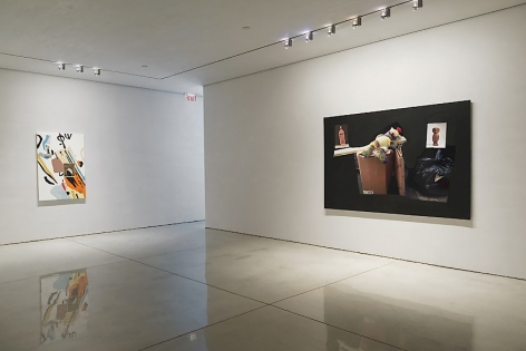 A photograph of two large works on canvas at Mary Boone Gallery