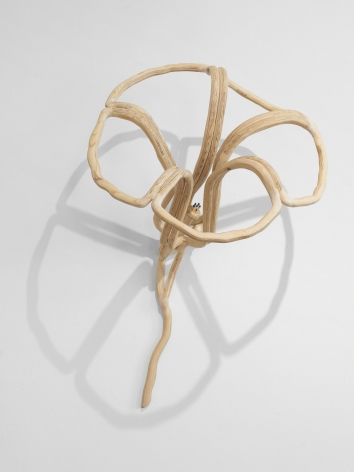 A sculpture of a hibiscus bloom made out of plywood to resemble a single line. The pistil is a set of blue matches, the work itself casts a shadow of the bloom on the wall