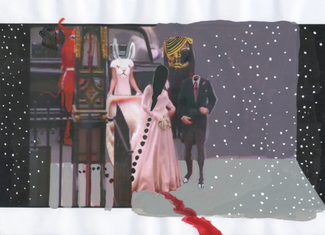 A film still that depicts a pink dress without a head emerging from a car. There is a male figure next to it with no head. There is a figure holding the dress near an automobile that has a bunny head.