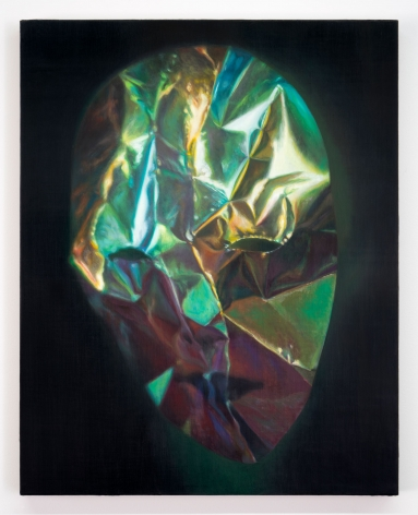 A painting of a face made out of cellophane, somewhat photorealist. There are tones of green, blue, purple, yellow.