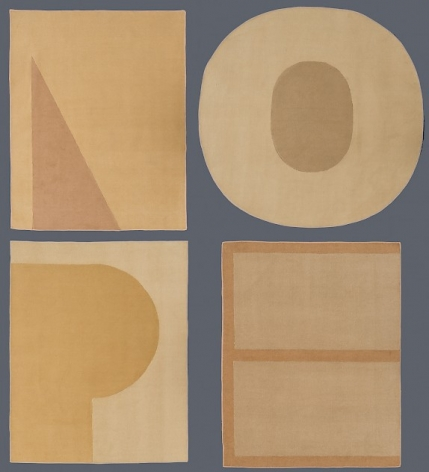 """Four yellow/beige/light orange carpets, each with a latter of the word """"NOPE"""". All are rectangular except for the O, which is a circle."""