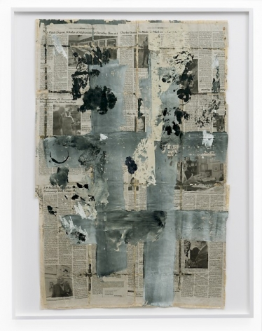 An assemblage of newspaper pages of obituaries, with grey, white, and black paint throughout.