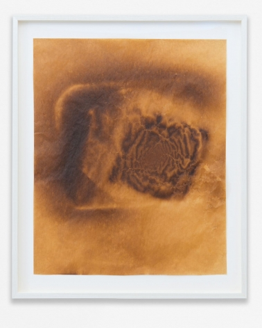 A thermograph (put paper into the oven with items on top) that makes an abstract composition in brown tones.