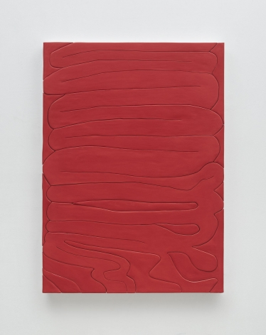 A photograph of a red painting that has lines squiggling throughout, making it appear like a visualization of intestines or sausage links.