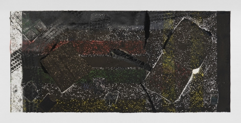 A collograph print by Kahil Robert Irving with tire marks, red/green/yellow splotches of color, and a white bar of color at left. Also includes found objects (pizza box, empty cigarette carton, McDonald's french fry box) embedded in the surface.