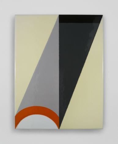 An enamel painting with a central vertical axis. There are triangular shapes in grey, black, and yellow, with an orange semicircle at bottom.