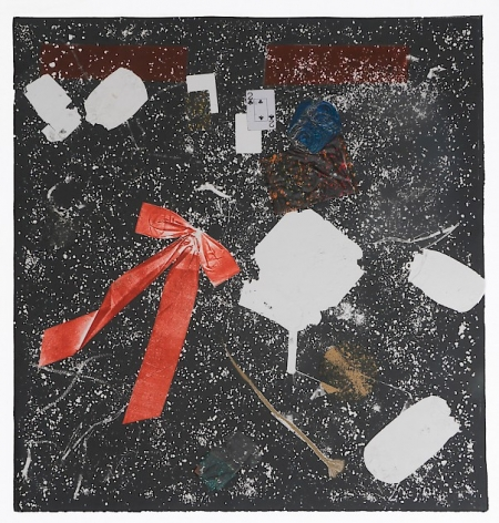 A square print that is mostly black with specs of white throughout. There is a large red Christmas bow attached to the paper at left, a 2 of spades playing card, and a piece of hair also attached and visible. There are white shapes that resemble a crushed soda can and styrofoam clamshell.