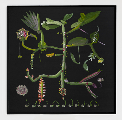 A square painting on black corrugated plastic; a green botanical figure that looks like a sprig with leaves and other organic material surrounding it