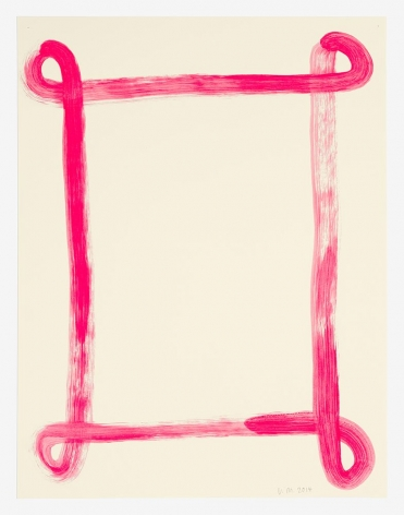 A work on paper made of rich pink paint. There is a single line that describes a rectangle frame with loops at the corners.