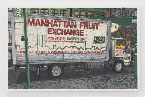 "The side of a box truck that says ""MANHATTAN FRUIT EXCHANGE"" in bold red letters"