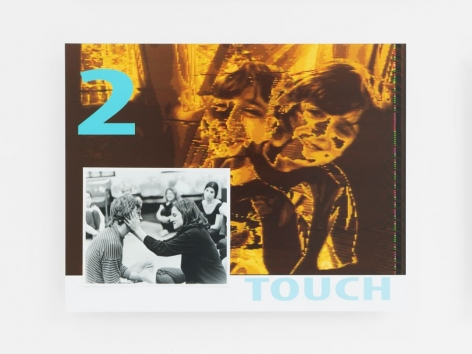 "A ""lobby card"": print on dibond that is orange and brown with an abstracted pair of children. ""2 TOUCH"" is printed on the dibond in baby blue. There is a black and white photograph of a woman touching a man's face in the lower-left of the dibond, glued on."