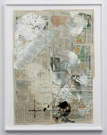 An assemblage of newspaper pages that cover the weather, with white, grey, off-white, and black paint applied in splotches throughout.
