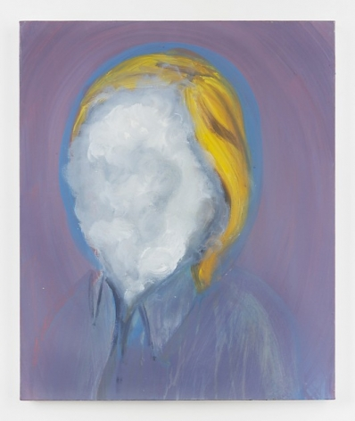 A painting on canvas with a purple striated background. There is a bust centrally placed with blonde hair and a face that appears to be a cloudy surface with white and gray tones. The person is wearing a collared shirt, and their head is enclosed in a blue orb.