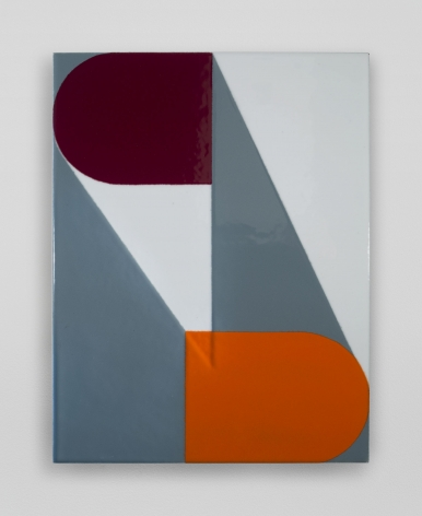 An enamel painting with spherical and triangular shapes in orange, white, blue, and maroon.