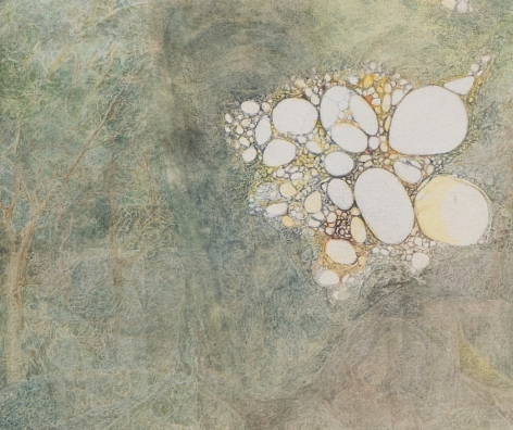 A close up of the center of the drawing, which shows us the empty circles and the abstracted spindles of the forrest.