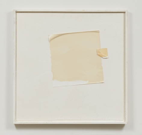 Two squares made of tracing paper, one big and one small, adhere to a piece of wood that is painted white by the paint alone. Framed in white.
