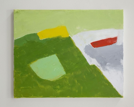 An abstract painting of a mountain in tones of green, yellow, and white
