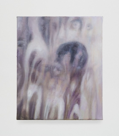 Abstract painting in shades of purple with blurry figures