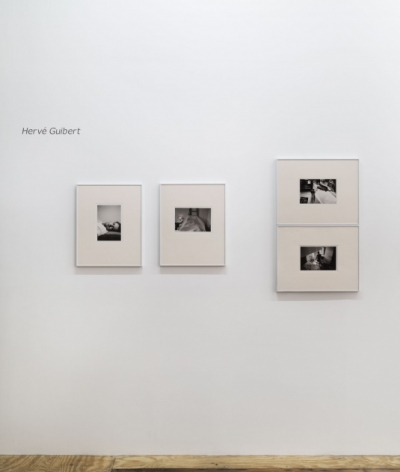 A tighter photograph of the installation. The artist's name is installed on the wall in gray vinyl at the top of the photograph. There are 4 photographs in this image: 2 portrait-oriented next to one another, then 2 horizontal images stacked upon one another.