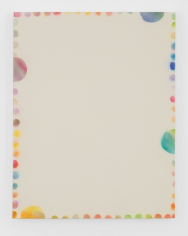 A painting on cream ground. There are multi-colored dots lining the edge of the canvas. There are 4 semi-circles coming off the edges that are larger than the other circles. They are pink (left), yellow (bottom-left), green (right) and blue (top-right).
