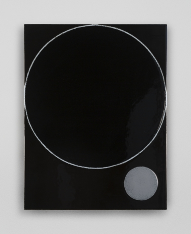 An enamel painting on steel. A large circle is defined by a single white line, and in the bottom-right is a small gray circle, filled in.