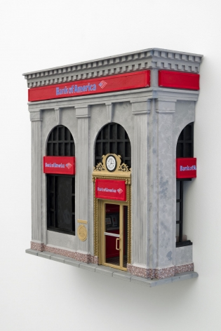 A sculpture made of foam and paper that depicts the facade of Bank of America.