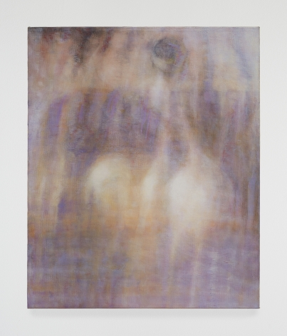 an abstract painting of purple, beige, white and blue.