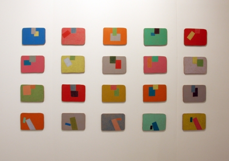 A composition of 20 small Sadie Benning geometric artworks in a grid