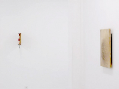 A photograph of 2 works hung on a white wall