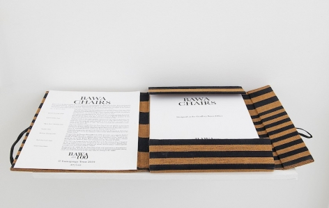 The portfolio of Bawa Chairs opened to the front page with the credits and BAWA 100 logo