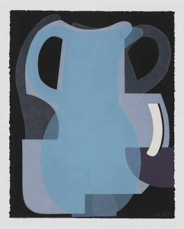 A print with varied layers of ink in blue, grey, and white; arranged to resemble a jug with a handle upon black ground