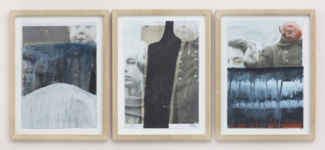 A series of three works in natural wood frames, installed in a straight line. Each work utilizes an identical image of a young boy standing in formal clothing next to a female face. Each work has been abstracted by a mass of white, black or grey paint in various ways.