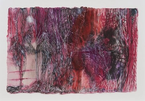 A photograph of a drawing on paper that is predominantly pink, purple, and red. It is a membrane of sorts, with all-over lines and white strains. It is a dense composition, heavily weighted on the right.