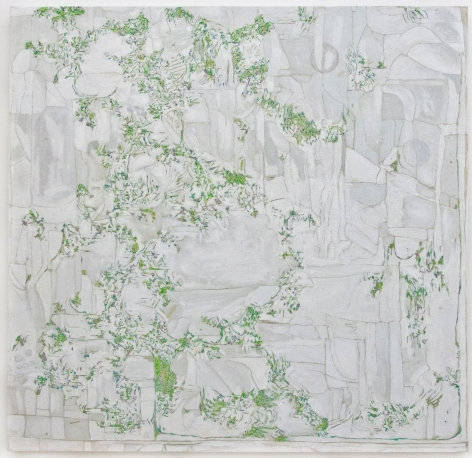 An abstract painting in green and grey paint on which background