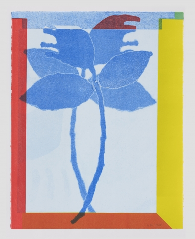 a print with blue flowers, surrounded by a red and yellow border