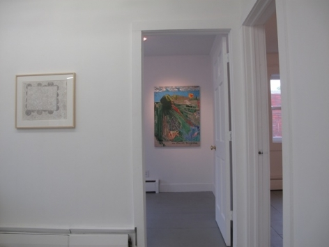 A photograph of an abstract work at left on the wall, and another through a doorway in the background (painting)