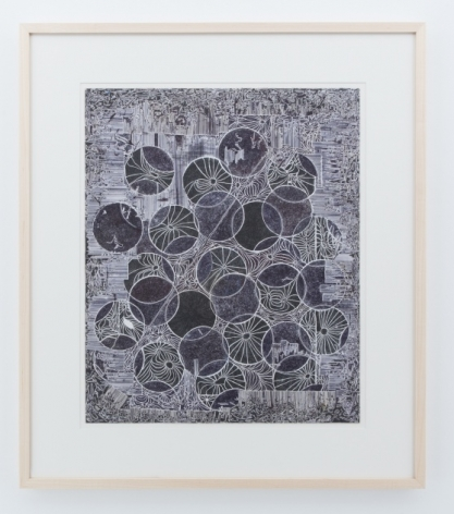 A drawing of many circles, outlined in white, against a cloudy white background. There are small starbursts within some of the circles.