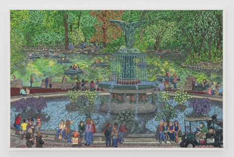 A painting of Bethesda Fountain in NYC's Central Park, on a summer day with lots of people gathered, sitting on the edge of the fountain, trees in full green bloom.