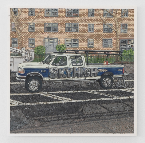 "A painting of a pickup truck parked in a vacant lot with a brick apartment building in the background. The truck says ""SKYHIGH"" across it's door and half of the caddy."