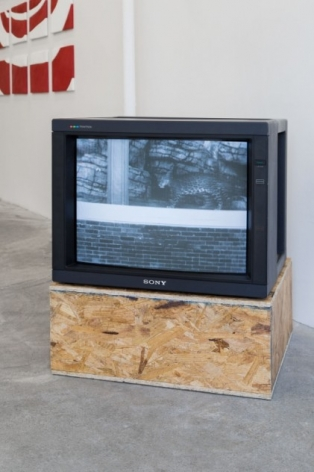 An installation of a video on a monitor, with a particle-board pedestal.