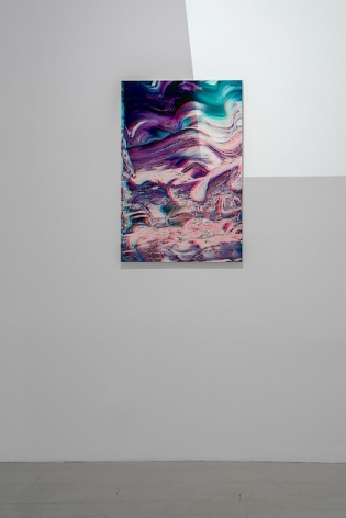 An single artwork on a white wall with a light happening at top-right. The light is a video of the interior of the gallery via Google Maps, which also includes the artwork itself.