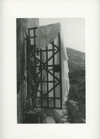 A black and white photograph of a naked man camouflaged behind an iron gate, which has a sheet draped over the right side of the door. There is a mountainous background in the distance behind the door.