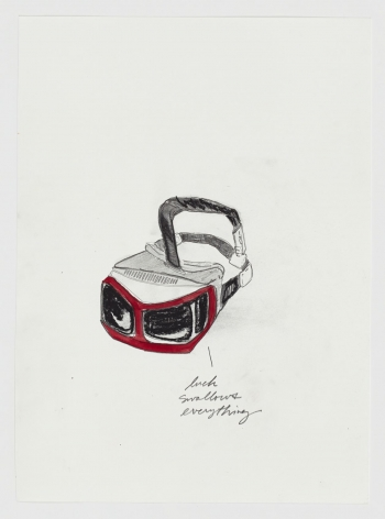 """A drawing on white paper. A red VR headset, drawn semi-realistically, with the hand-drawn text """"luck swallows everything"""" at bottom-right in cursive type."""